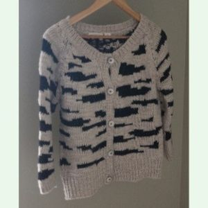 Anthro Sleeping on Snow Zebra Stripe Cardigan